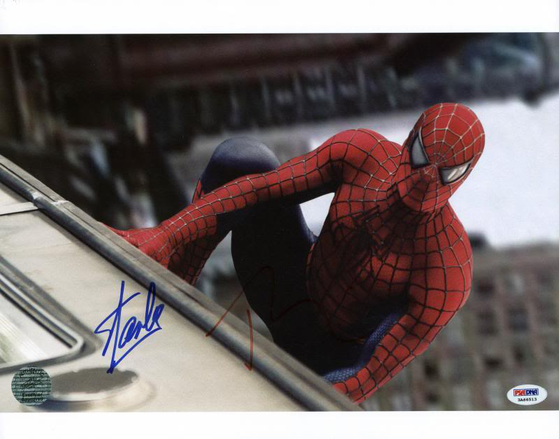 Stan Lee & Tobey Maguire Spider-Man Signed Authentic 11X14 Photo PSA #3A66513