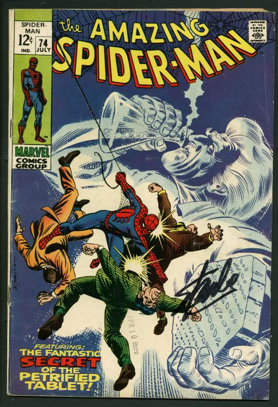 Stan Lee Signed Amazing Spider-Man #74 Comic Book Last 12 Cent Cover PSA #W18743