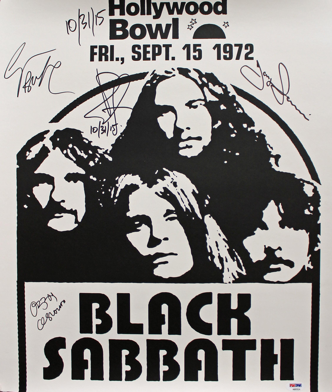 Black Sabbath (4) Ozzy Osbourne Signed 18x20.75 1972 Concert Poster PSA #AB03324