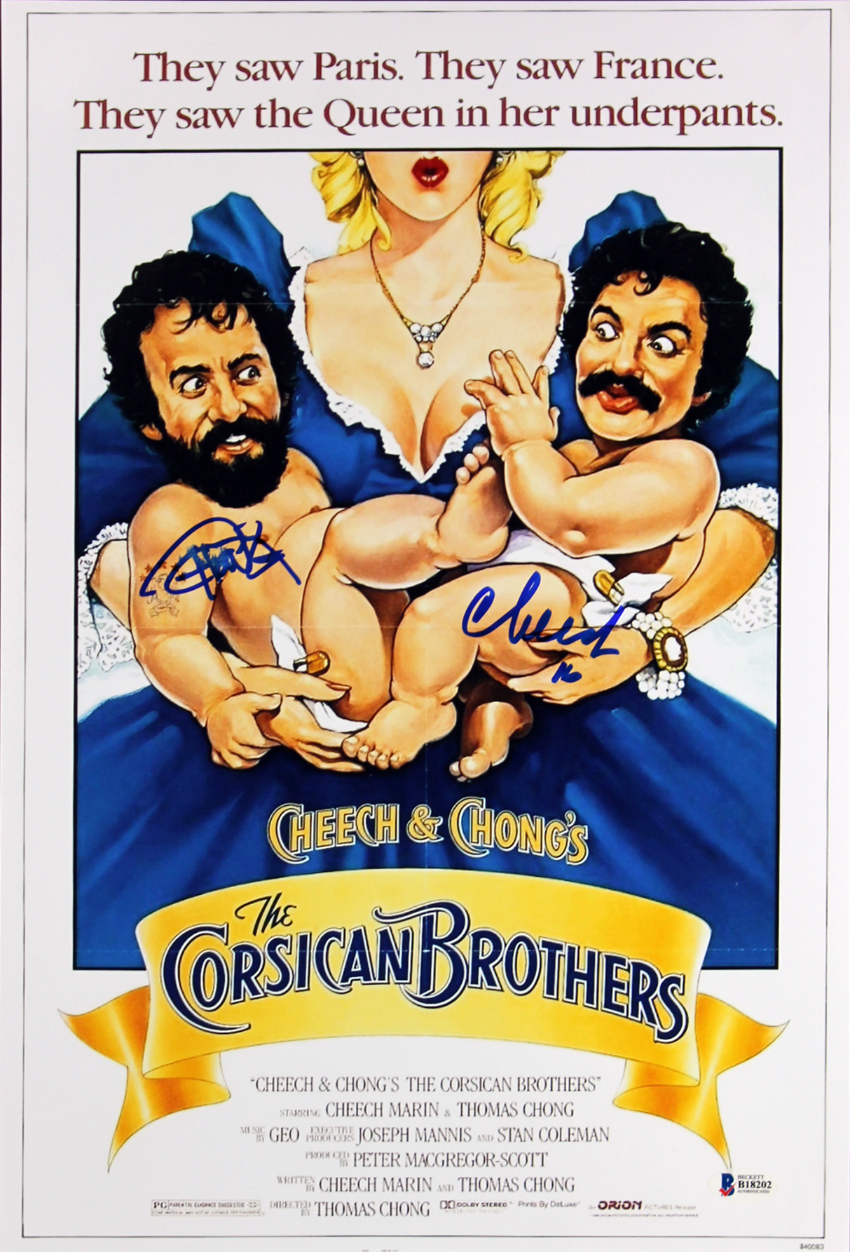 Cheech Marin & Tommy Chong The Corsican Brothers Signed 12x18 Poster BAS #B18202