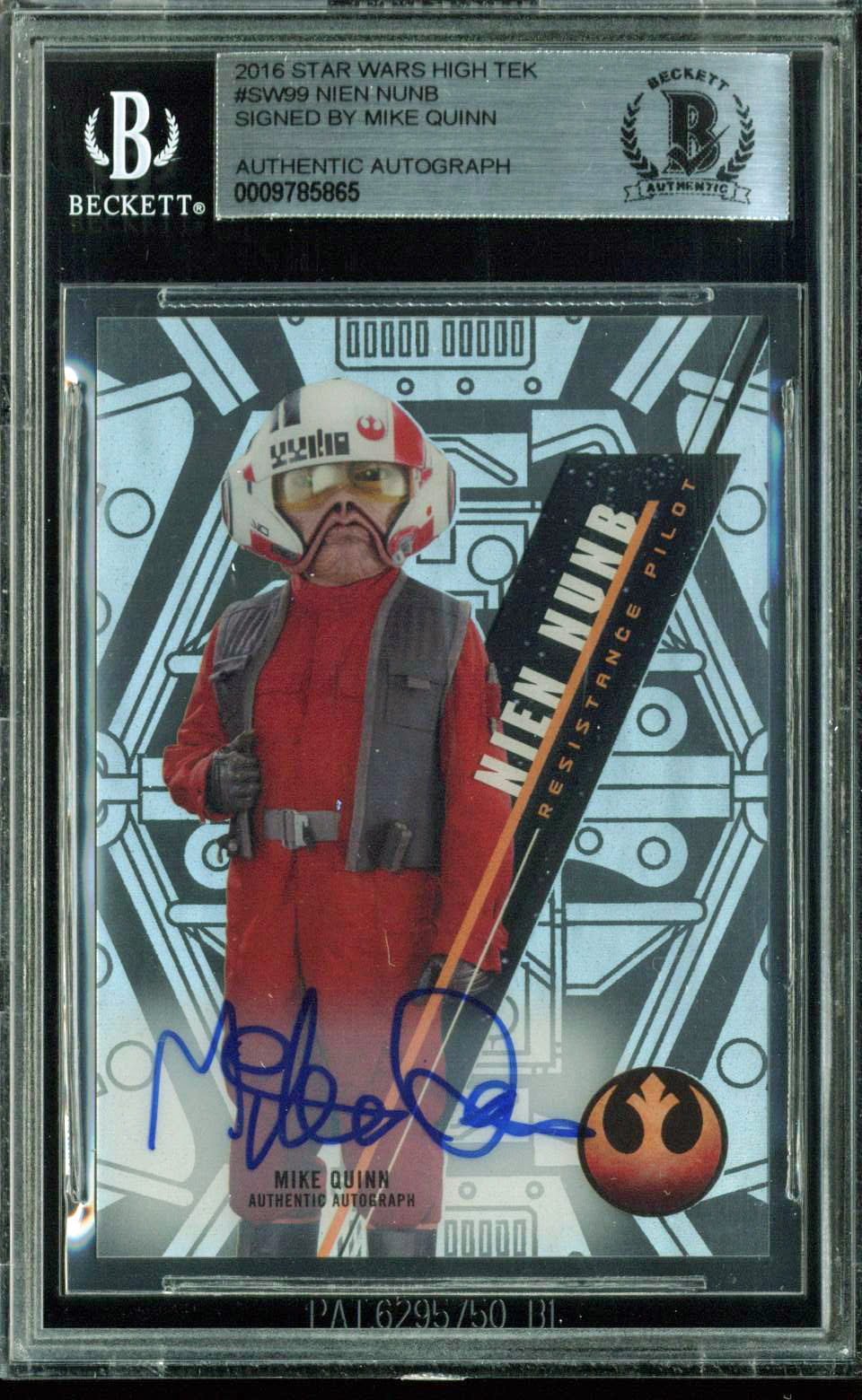 Mike Quinn Authentic Signed 2016 Star Wars High Tek #99 Nien Nunb Card BAS Slab