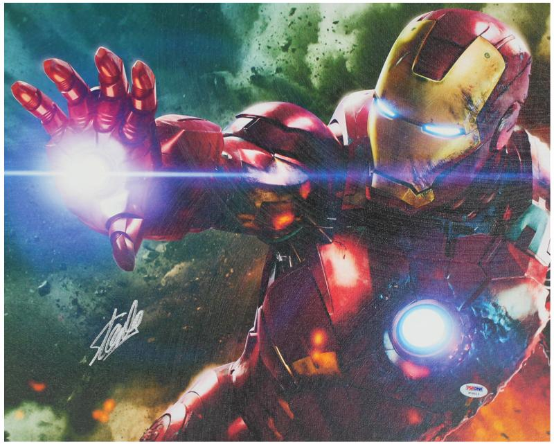 Stan Lee Marvel Comics Authentic Signed 16X20 Iron Man Canvas PSA/DNA #W18513