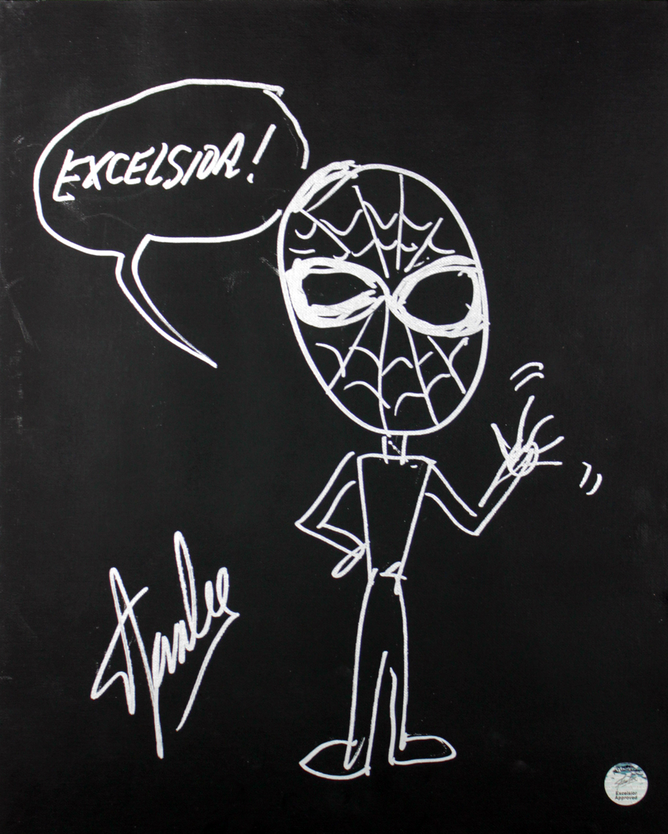 Stan Lee Authentic Signed 16x20 Canvas w/ Spider-man Sketch PSA/DNA #W00378