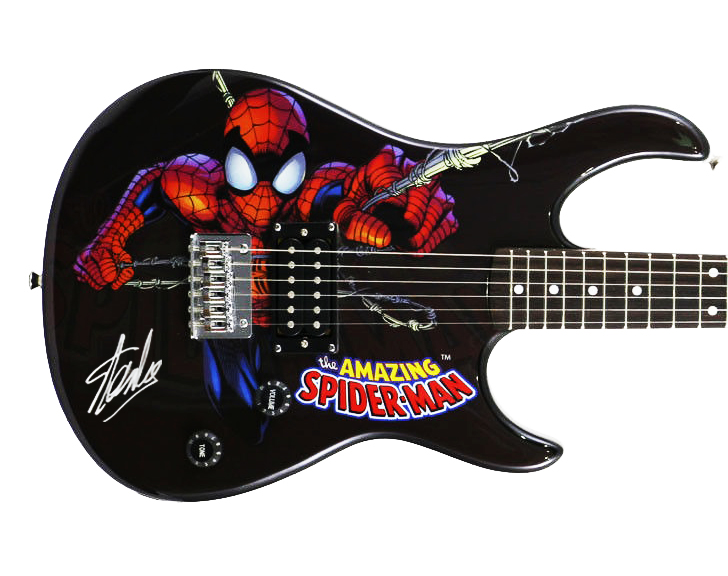 Stan Lee Signed Peavey Rockmaster Marvel Spiderman Guitar W/ Stan Lee Holo & PSA