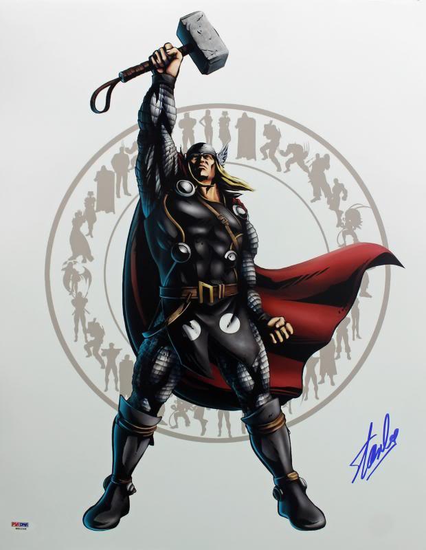 Stan Lee Authentic Signed Thor 16X20 Photo Marvel Comics Autographed PSA/DNA