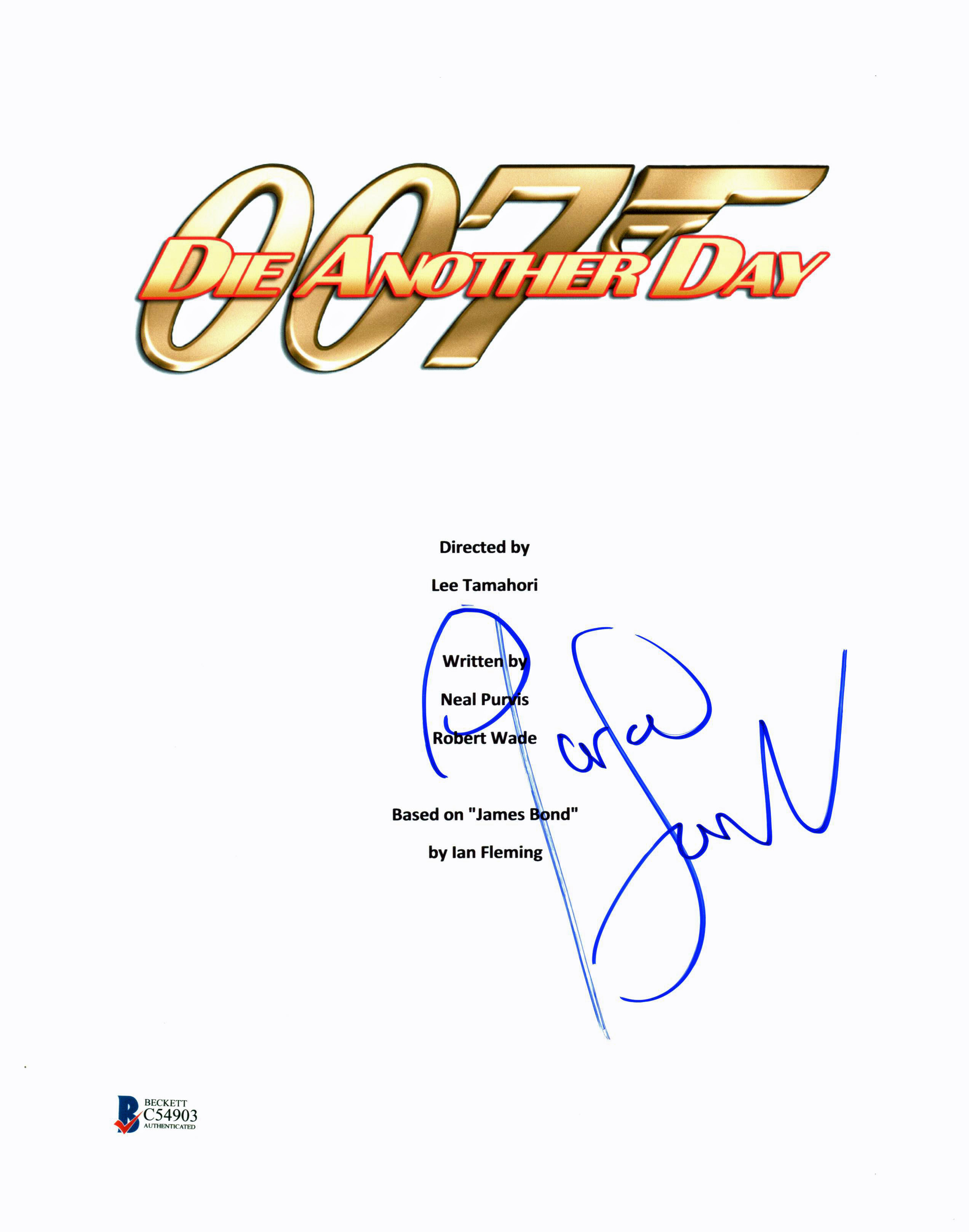 Pierce Brosnan Authentic Signed 007 Die Another Day Script Cover BAS #C54903