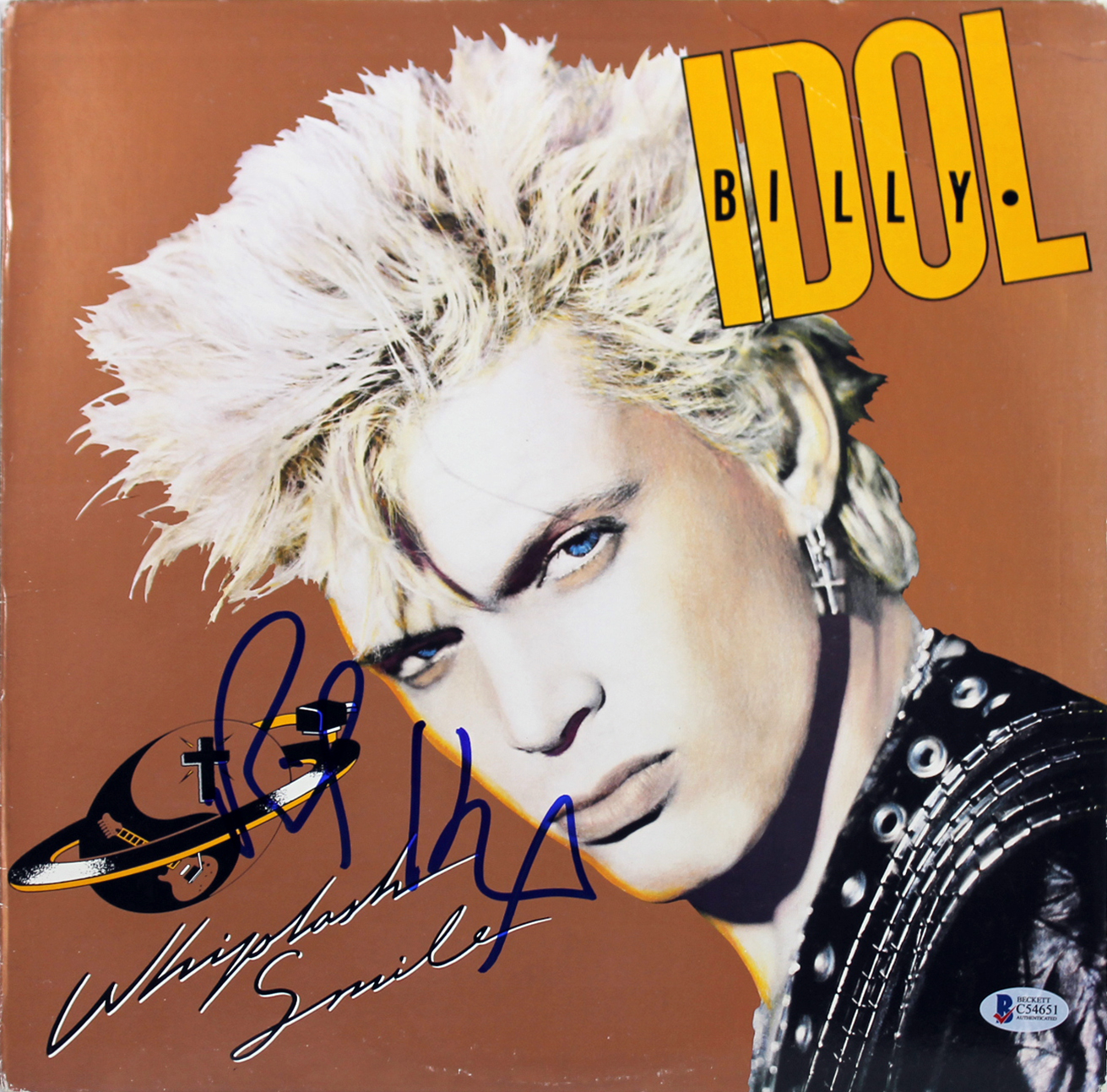 Details about Billy Idol Signed Whiplash Smile Album Cover W/ Vinyl  Autographed BAS #C54651