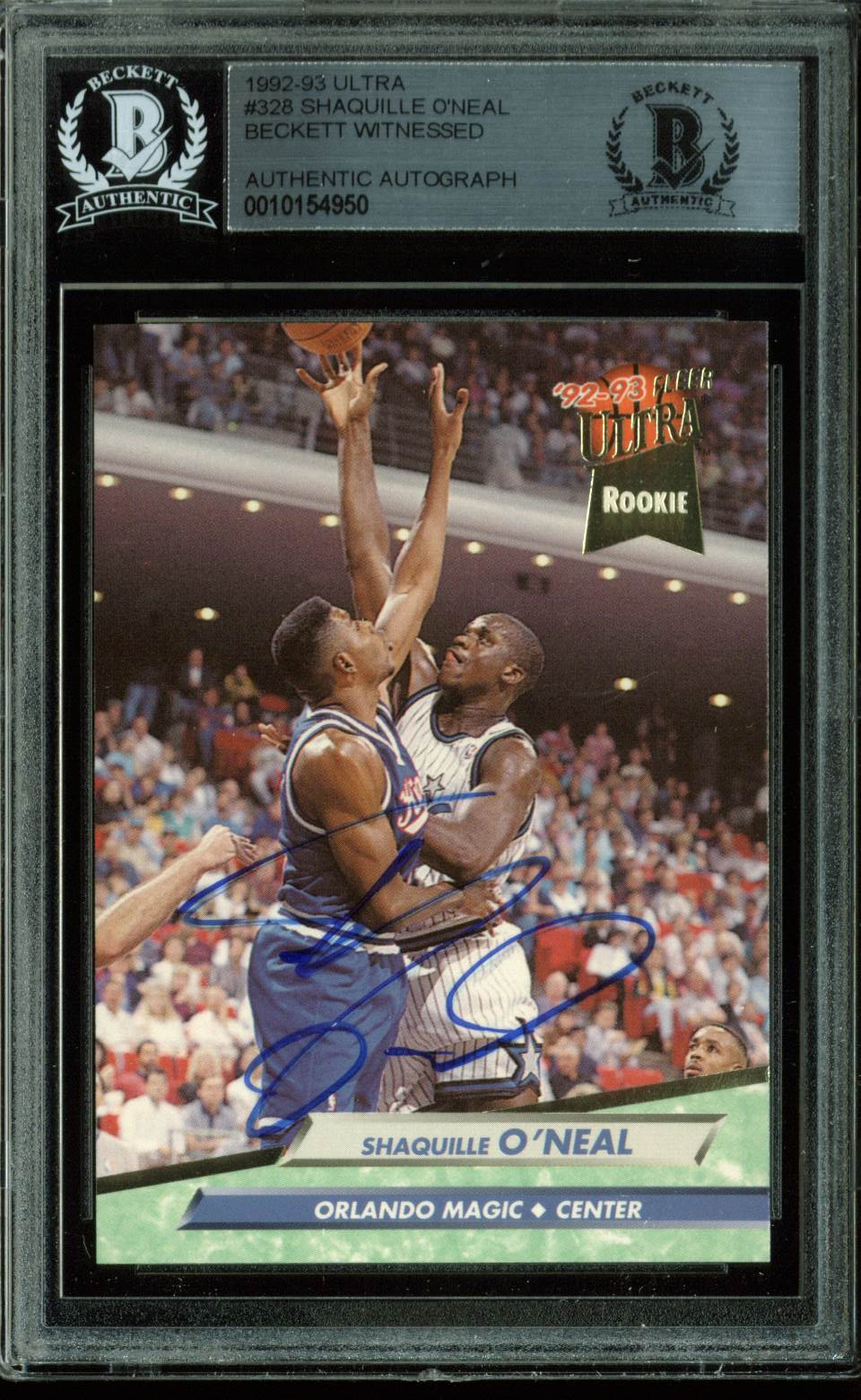 4873cd32dde Press Pass Collectibles Magic Shaquille O Neal Signed Card 1992 Fleer Ultra   328 Rookie BAS Slabbed