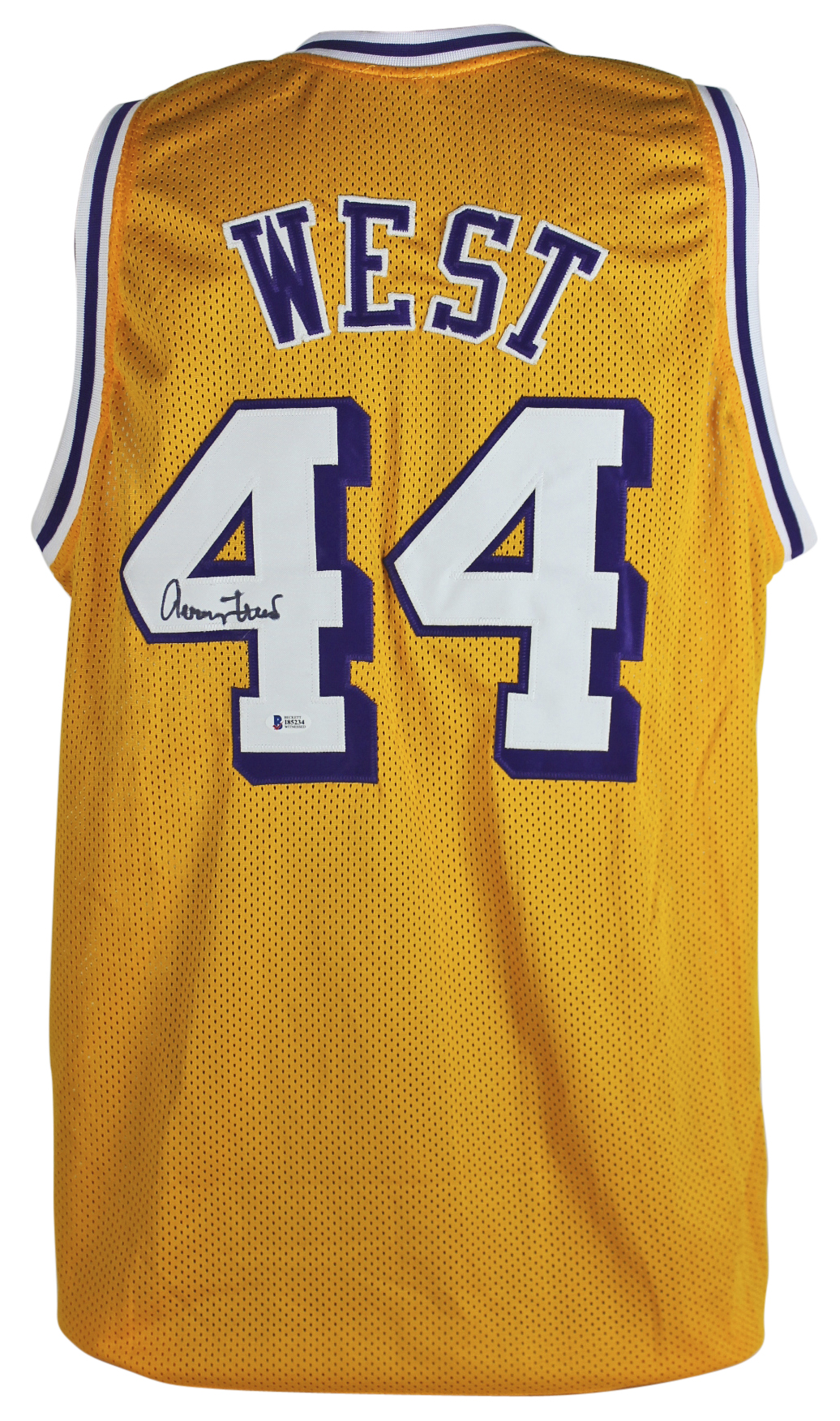 44229ce79 Lakers Jerry West Authentic Signed Yellow Mesh Jersey Autographed ...