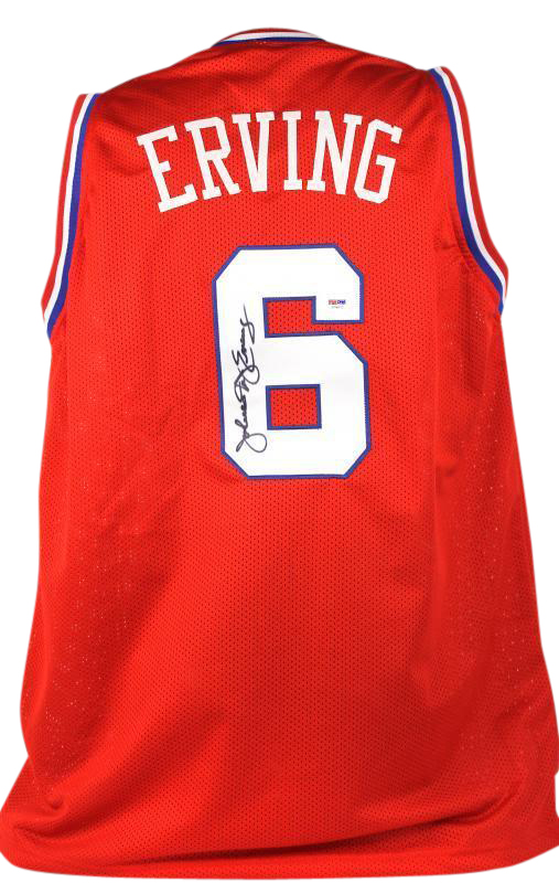 new product e7f9f f20db Details about 76Ers Julius 'Dr. J' Erving Authentic Signed Red Jersey  Autographed PSA/DNA