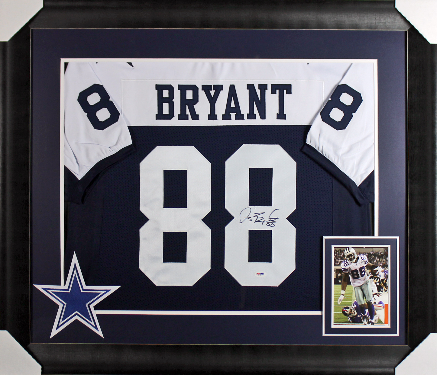 free shipping c9ef4 9de50 Details about Cowboys Dez Bryant Authentic Signed & Framed Blue  Thanksgiving Jersey PSA/DNA