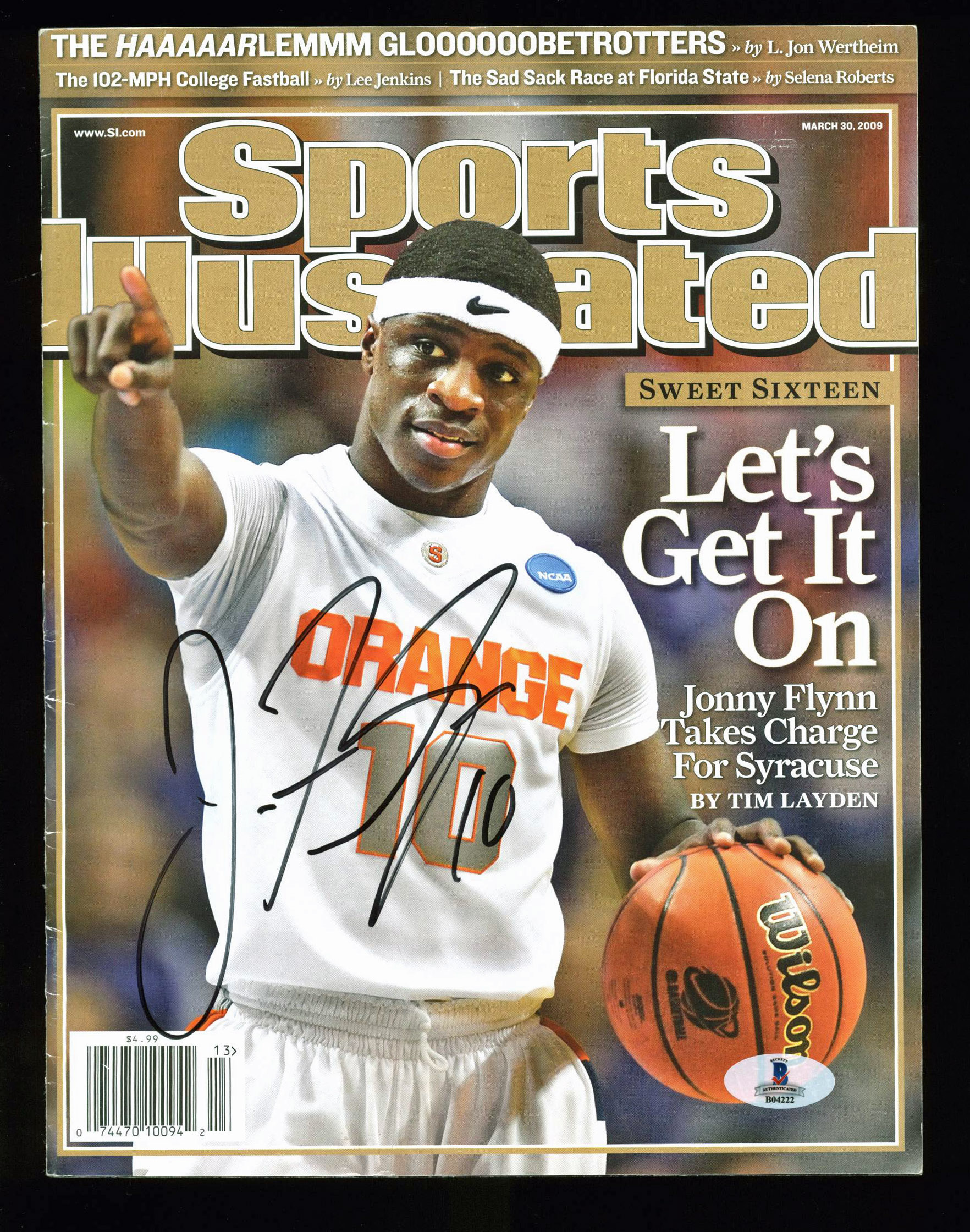 Details About Syracuse Jonny Flynn Signed Sports Illustrated 2009 Magazine Bas B04222