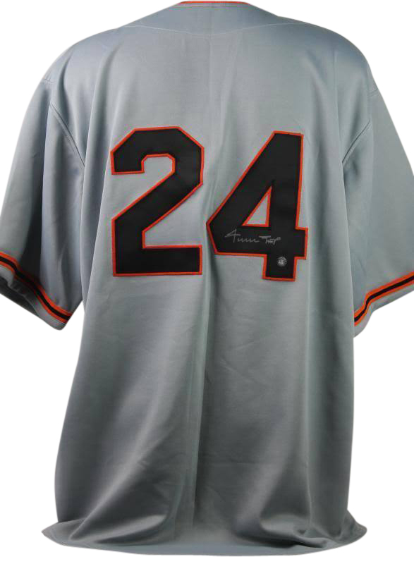 size 40 2ad3b 52ddf Details about New York Giants Willie Mays Signed Gray Jersey With Mays Say  Hey Hologram