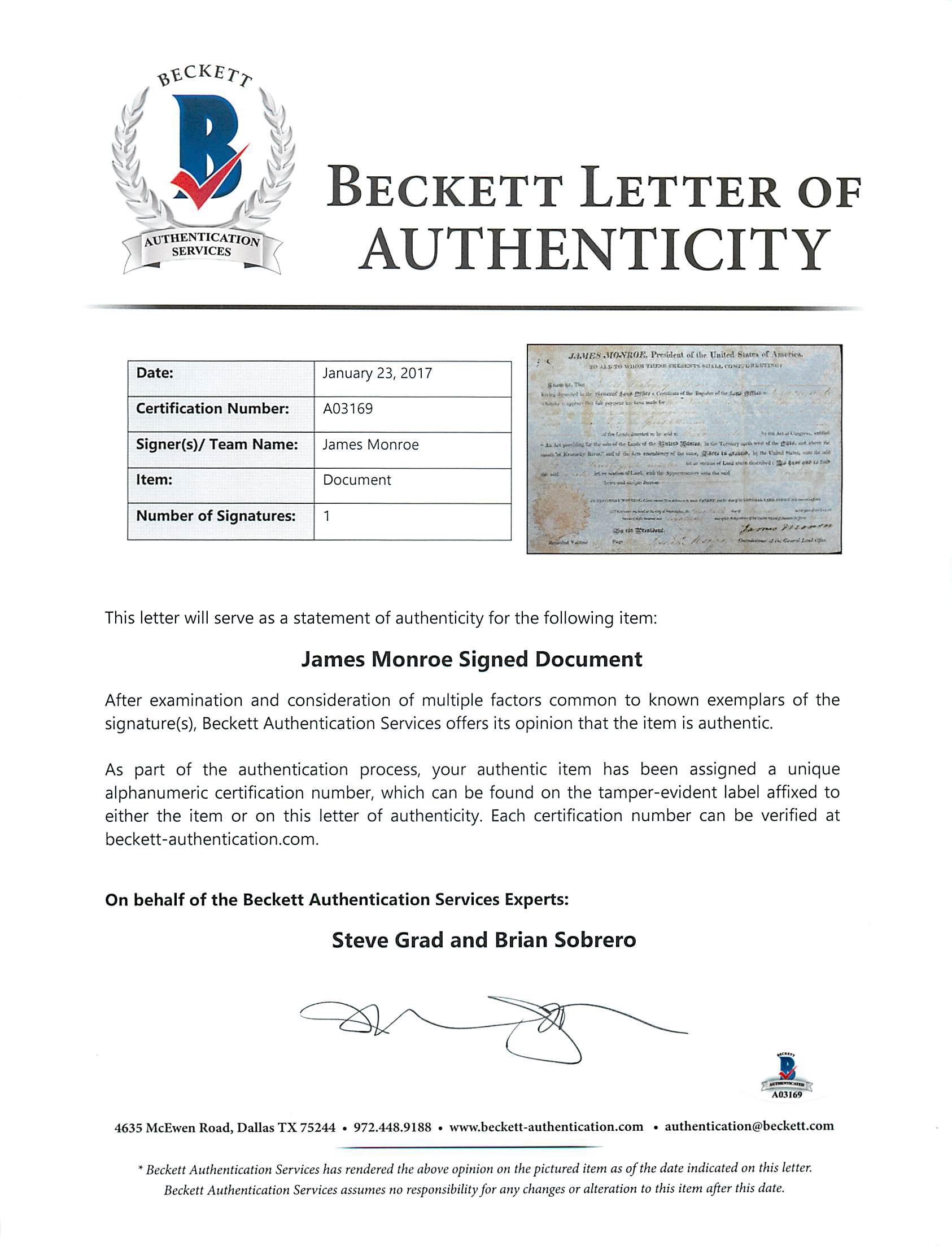 James monroe authentic signed 85x13 1818 land grant document bas 119999 altavistaventures Choice Image